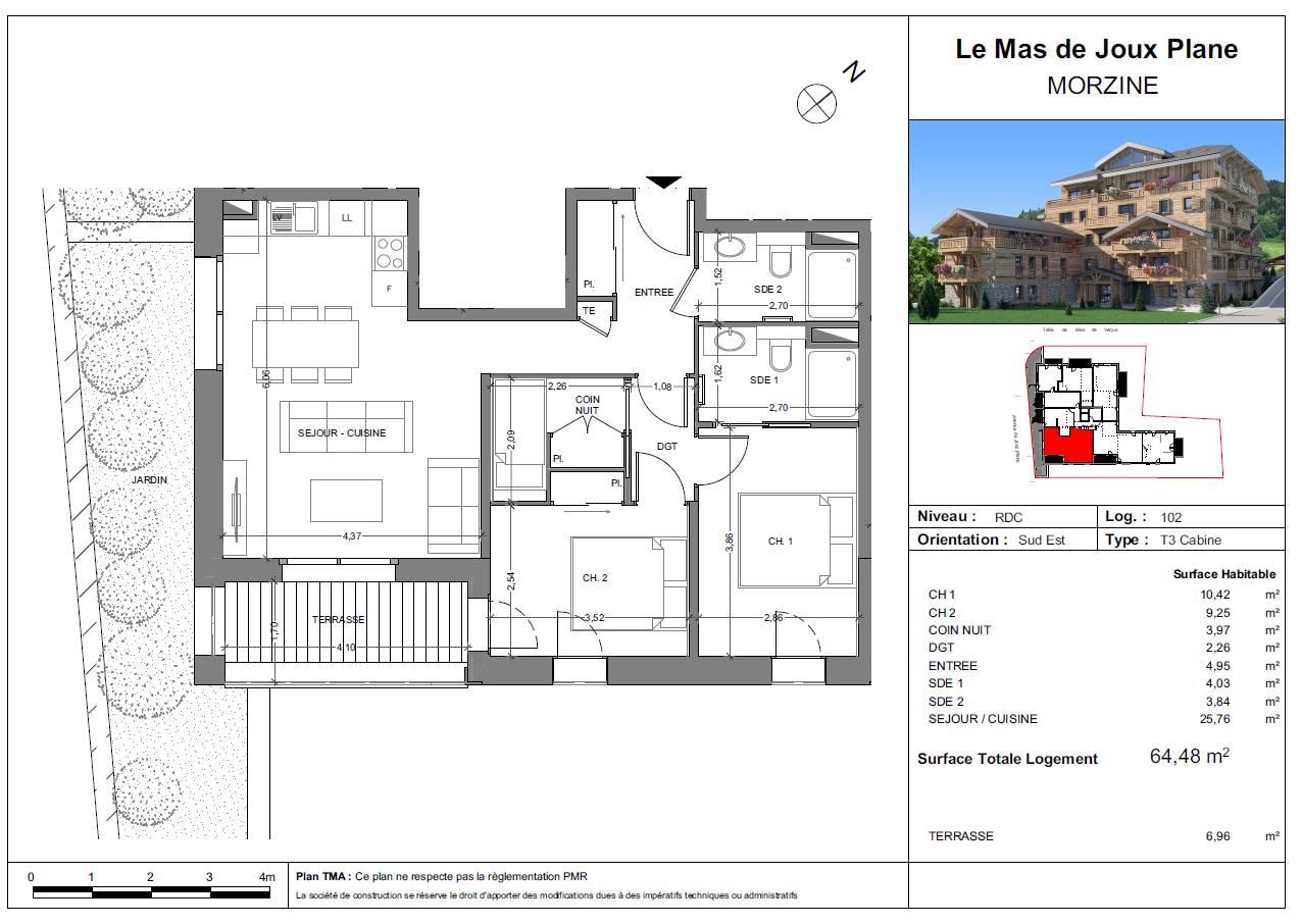 LE MAS DE JOUX PLANE T3 cabine MORZINE